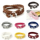 Men Women Anchor Charms Wrap Multilayer Leather Bracelet Braided Rope Jewelry