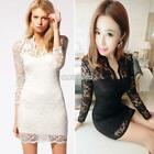 Women Long Sleeve Lace Summer Casual Ladies Cocktail Evening Sexy Mini Dress 01