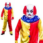 Adult Creepy Clown Scary Halloween Fancy Dress Costume + Mask Outfit OS PS