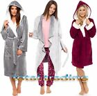 Ladies Womens Hooded & Waterfall Fleece Dressing Gown Robe Winter Warm Luxury