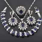 FAHOYO Pretty Blue Sapphire CZ 925 Sterling Silver Women Jewelry Sets QS089