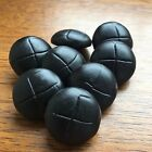 "REAL LEATHER FOOTBALL BUTTONS- BLACK  X 5- CHOOSE 15MM (19/32"") OR 20MM (25/32"")"
