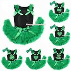 St Patrick's Day PRINTING Black Top Newborn Baby Girl Kelly Green Skirt 3-12M