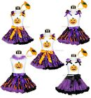 HALLOWEEN PARTY Trick or Treat Pumpkin Girl Clothing Top Pettiskirt Outfit 1-8Y