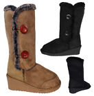 New Ladies Womens Casual Fur Comfy Wedge Boots Fashion Style Winter Boot Snugg