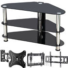 TV Bracket Slim Tilt Fixed Swivel Brackets & Glass TV Stand Shelf DVD Shelves 3D