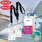 Premium Cruise Luggage Tag Holder w/ Zip Seal Vinyl Steel Loop Cord Durable PVC