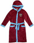 Boys Official WEST HAM United FC Hooded Fleece Dressing Gown 7 to 13 Years