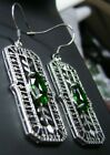 Marquise *Emerald* Art Deco Sterling Silver Filigree Earrings {Made to Order}