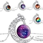 WOMEN TRENDY GALACTIC GLASS CABOCHON PENDANT SILVER TONE CRESCENT MOON NECKLACE