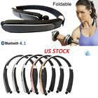 Bluetooth Headset Wireless Foldable Sports Headphones Neckband Stereo With Mic