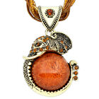 Crystal Resin Elephant Pendant Necklace Handmade Millet Chain Antique Jewelry