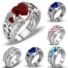 Fashion Jewelry Women's 925 Silver White Sapphire Heart Wedding Engagement Ring