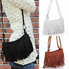 Women Vintage PU Leather Fringe Tassle Satchel Shoulder Handbag Crossbody Bag UK