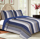 Blue Stripes 3-Piece Reversible Bedspread Coverlet Quilt Set with Pillow Shams