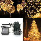 Solar 60/100/200 LED String Fairy Lights Garden Outdoor Party Tree Deco Lamp