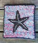 STARFISH ON CORAL PLAID   Primitive Rug Hooking  KIT WITH #8 CUT WOOL STRIPS