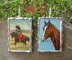 Big Charm Art Collage Handmade Jewelry Vntage Cowgirl / Paint by numbers Pony W1