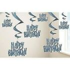 AGE 1 - Happy 1st Birthday BLUE GLITZ - Party Balloons, Banners & Candles