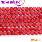 """6mm Red Pink Flat Coin Coral Stone Beads For Jewelry Making Beads Strand 15"""" DIY"""