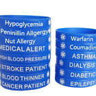 Blue Silicone Rubber Medical Alert Bracelet Bangle Wristband Hypoallergenic