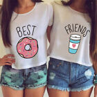 T-shirt Funny Best Friends T Shirt Donut And Coffee Duo Flowy Print Tees CoupleJ