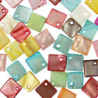 50 Shell Mother of Pearl Square Shaped Charm Beads 11mm - Choose From 9 Colours