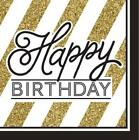 Black/Gold 16 Luncheon NAPKINS {33cmx33cm} Birthday Party Supplies