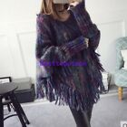 Womens Tassel Loose Autumn Mid Long Shawl Tops Sweater Cloak Tops One Size New
