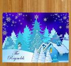 Personalized Christmas Snow Scene doormat Family Name Welcome Holiday Doormat