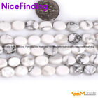 """Natural Stone Oval White Howlite Stone Beads For Jewelry Making Loose Beads 15"""""""