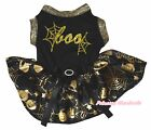Boo Halloween Black Top Gold Pumpkin Cobweb Tutu Pet Dog Dress Puppy Clothes Bow