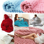 Handmade Chunky Knitted Blanket Wool Thick Yarn Bulky Bed Sofa Throw Decor Rug image