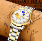 Luxury Men's Stainless Steel Automatic Mechanical Date Day Leather Wrist Watch