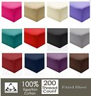 Luxury 100% Egyptian Cotton Fitted Sheets 200TC Single Double King & Super King