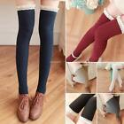 Girls Women Thigh High Over the Knee Lace Trimed Patchwork Socks Long B20E