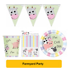 PASTEL FARM ANIMALS Birthday Party Range - Tableware Balloons & Decorations (UQ)