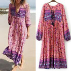 2017 Womens Lace Up V Neck Floral Long Sleeve Boho Floral Hippie Long Maxi Dress