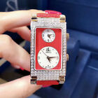 Jacob&Co 25x45mm Stainless Steel Rectangle Diamonds Women's Watch Two Time Zones