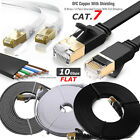 Gold RJ45 CAT7 Network Ethernet 10Gbps Gigabit Patch LAN SSTP Flat Round Cable