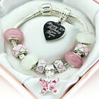 Personalised Christmas Birthday Gifts ENGRAVED Jewellery Pink White Bracelet