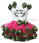 Oh Deer I'm Here White Top Hot Pink Camouflage Trim Skirt Girls Outfit Set NB-8Y