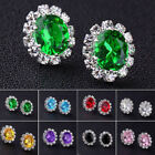 9 Colors Fashion Crystal Rhinestone Ear Jewelry Elegant Women Stud Earrings Set