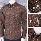 Get Up Mod Retro Skin Button Down Long Sleeve Geo Spotted Shirt Brown