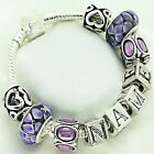 Personalised Charm Bracelet Purple Beads ANY NAME Womens Girls Birthday Gifts