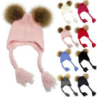 Toddler Baby Boy Girl Winter Double Faux Fur Pom Crochet Knit Beanie Hat Cap US