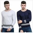 Simple Men's Drop Striped Printed Round Collar Casual Long Sleeve T-Shirt Tops