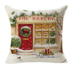 Christmas Pillow Cover Linen Square Throw Flax Pillow Case Decorative Cushion