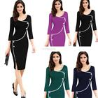 Women Casual V Neck Half Sleeve Patchwork Slim Waist Side Split Pencil EN24H