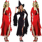 Ladies Medieval Evil Devil Demon Fancy Dress Outfit Halloween Costume BLK&RED